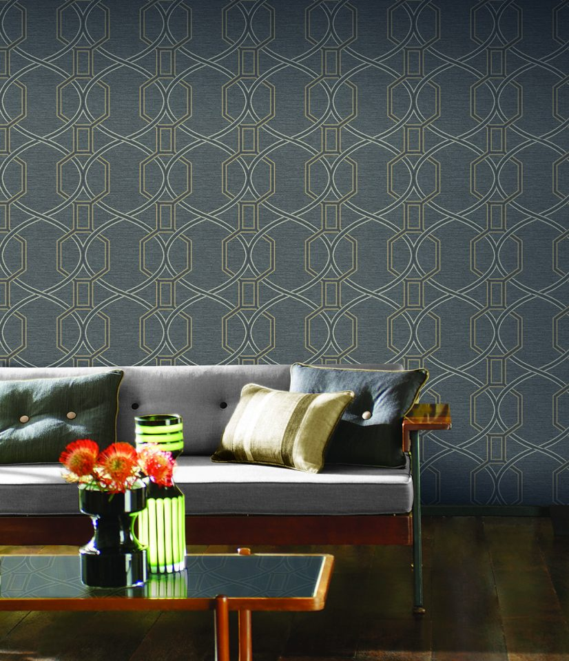 Contemporary, Coleton, Black, Geometric, Wallpaper, The Paper Partnership