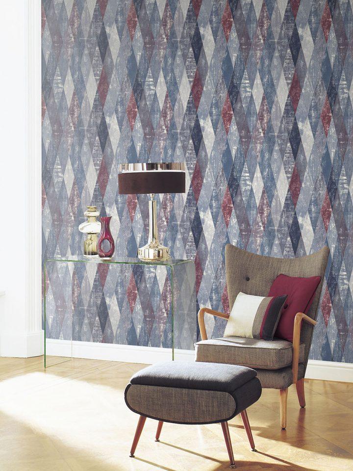Fontwell, Dark Blue, Wallpaper, Interior, Footstall, The Paper Partnership