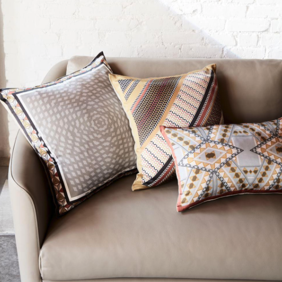 West Elm Geo Border Cushions
